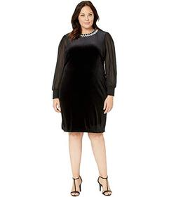 Tahari by ASL Plus Size Column Gown with Beaded Ne
