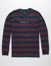 BRIXTON Hilt Navy Stripe Mens T-Shirt_