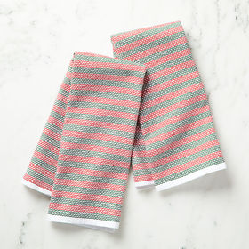 Crate Barrel Holiday Textured Terry Dish Towels, S