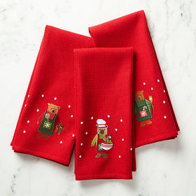 Crate Barrel Holiday Bears Dish Towels, Set of 3