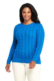 Lands End Women's Plus Size Drifter Cotton Cable K