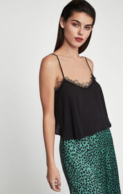 BCBG Lace-Trimmed Cropped Camisole