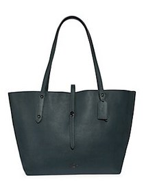 COACH Leather Market Tote BLACK