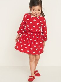 Fit & Flare Printed Soft-Brushed Dress for Toddler
