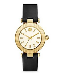 Tory Burch Classic T Leather Strap Watch BLACK