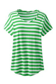 Lands End Women's Plus Size U-neck Jersey T-shirt
