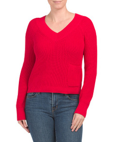 525 AMERICA Cropped V-neck Sweater With Pocket