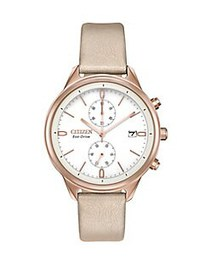 Citizen Chandler Stainless Steel and Leather Chron