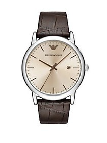 Emporio Armani Luigi Leather Watch BROWN