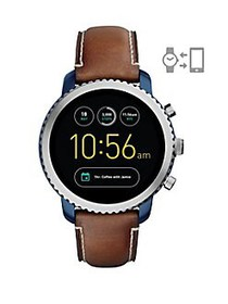 Fossil Q Explorist Leather-Strap Touchscreen Smart