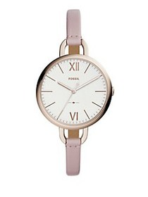 Fossil Annette Three-Hand Leather-Strap Watch PINK