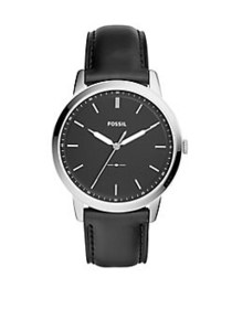 Fossil The Minimalist 3H Leather-Strap Watch BLACK