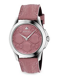 Gucci G-Timeless Leather Strap Watch PINK