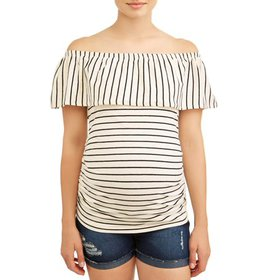 Oh! MammaMaternity stripe off the shoulder knit to