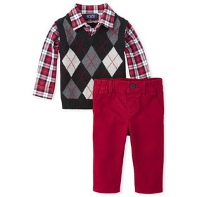 The Children's Place Baby Boy Argyle Vest and Chin