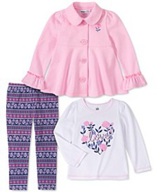 Baby Girls 3-Pc. Fleece Jacket, T-Shirt & Leggings