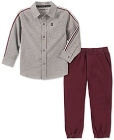Toddler Boys 2-Pc. Cotton Chambray Shirt & Jogger