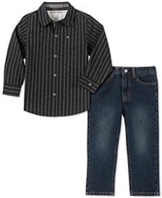 Toddler Boys 2-Pc. Cotton Striped Logo Shirt & Jea
