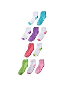 Hanes Girls Socks, 10 Pack Ankle Assorted (Little