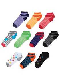 Hanes Girls Socks, 10 Pack No Show Fashion Colors