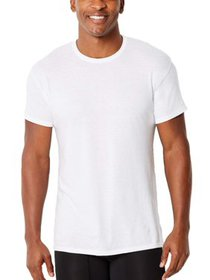 Hanes Mens ComfortFlex Fit White Crew T-Shirt, 4 P