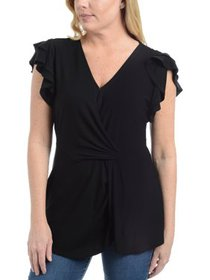 NY Collection Womens Petites Twist Front Flounce P