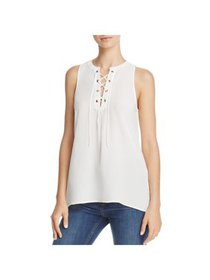 Joie Womens Deasia Silk Lace-Up Shell