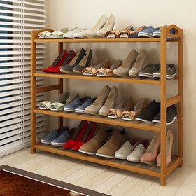 Zimtown Nature Bamboo 4 Tier Shoes Rack Storage Or