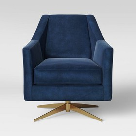 Tate Swivel Chair with Metal Base Blue - Project 6