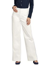Lands End Women's Mid Rise Twill Wide Leg Pants