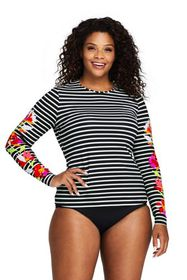 Lands End Women's Plus Size Long Sleeve Swim Tee R