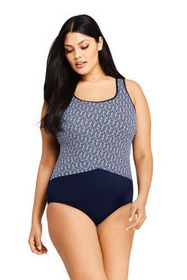 Lands End Women's Plus Size Tugless One Piece Swim
