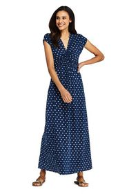 Lands End Women's Knot Front Cap Sleeve Maxi Dress