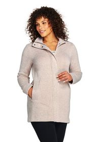 Lands End Women's Plus Size Sweater Fleece Coat