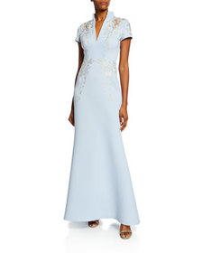 Badgley Mischka Collection Embroidered Scuba Stand