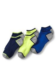 Lands End Boys Solid No-show Athletic Socks (3-pac