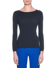Giorgio Armani Long-Sleeve Round-Neck Fitted Pullo