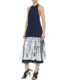 Tibi Layered Sequined Halter Dress
