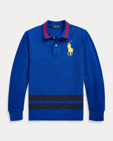 Boys 8-20 Cotton Mesh Long-Sleeve Polo