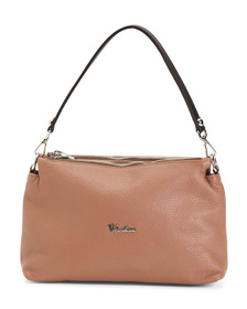 VALENTINA Made In Italy Multi Entry Leather Crossb