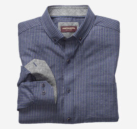 Johnston Murphy Micro Check Button-Collar Heathere