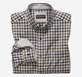 Johnston Murphy Gingham Button-Collar Heathered Sh