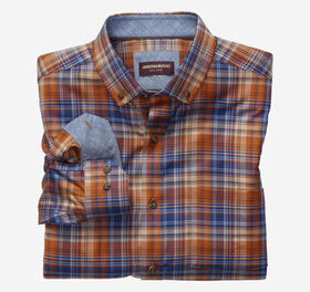 Johnston Murphy Harvest Plaid Button-Collar Heathe
