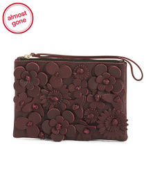 PUNTO FIBBIA Made In Italy Leather 3d Floral Clutc