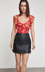 BCBG Faux Leather Lace-Up Skirt