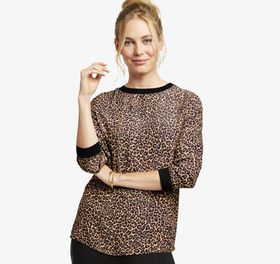 Johnston Murphy Printed Knit-Trim Blouse