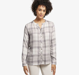 Johnston Murphy Plaid Y-Neck Shirt