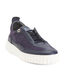 FERRAGAMO Made In Italy Laced Leather Sneakers