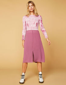 WEST OF MELROSE Makin' Me Blush Button Front Skirt