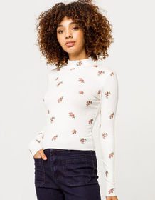 IVY & MAIN Ditsy Rib Mock Neck Womens Tee_